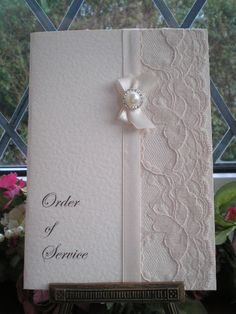 D0016b Ivory Pearl Diamante Order of Service COVER ONLY