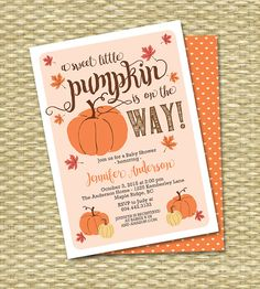 Is a cute little pumpkin on his or her way? This invitation combines premium commercial fonts with fall leaves, pretty pink flowers and pumpkin graphics to elegantly set the tone for your fall event! Gender neutral colour scheme. Lovely for an autumn baby shower, sip and see, diaper and wipes party or baby sprinkle. Wording can be customized however you like, for any event. Printable or printing available - add-on print listings located here…