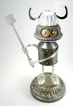 Bork 496 - Found Object Robot Assemblage Sculpture By Brian Marshall by adopt-a-bot, via Flickr***Research for possible future project.