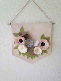 FELT FLOWER BANNER // Floral Art // Wall Hanging // Cream + White + Oatmeal + Gray + Taupe // Use Code SWEET16 For 20% Off