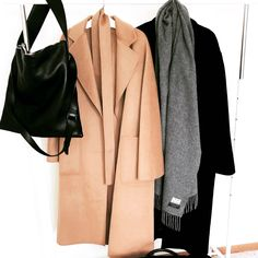 OVRSLO's minimal rack. Shop The Curated Camel Coat & Margaux Lonnberg Black Coat. NO/AN Studio bag and Acne Studios Scarf. #acnestudios #minimalstyle #clothingrack #minimal #ovrslo #fashion Black Camel, Camel Coat, Minimal Fashion, Casual Wear, Duster Coat, Flat Lay, Acne Studios, My Style, Photos