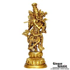 This Ginnie & Ginnie Exclusive Krishan with Bansuri is a product from our Statue & Sculptures Collection. It is made of Brass and it got Brass finish on it. Its approx LxWxH is 6x4.5x15.5 inches. It is of approx 4480 grams. Unique Code of this product is M400128.16