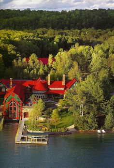 """Across the lake from us. We call it the """"Christmas House."""" Lake Charlevoix, Michigan."""