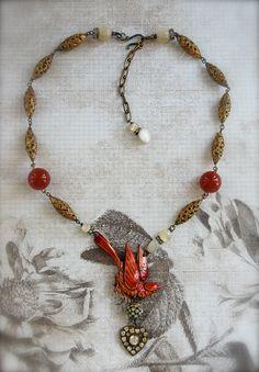 Messenger of Love-antique vintage enamel bird and paste rhinestone heart assemblage necklace. Etsy.