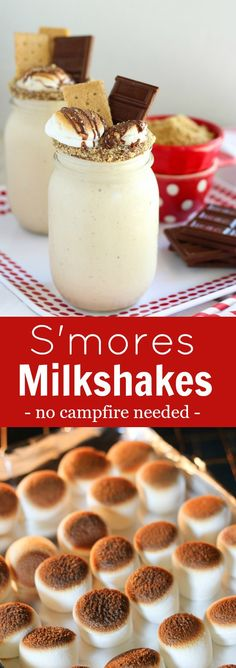 S'mores Milkshake - A toasted marshmallow milkshake, topped with chocolate, and graham crackers. Ready in 10 minutes!