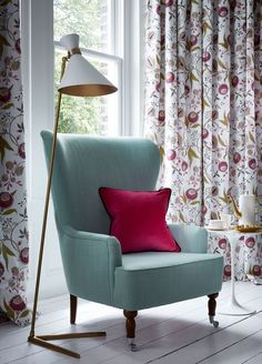 Our beautiful embroidered Pashmina fabric makes for some lovely curtains! We love the vibrant colours with gold accents. From the Wedgwood Home Fabrics and Wallcoverings by Blendworth collection.