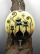 GLASSACTCC~Three Cats~Handmade Halloween Lampworked Glass Beads Jewelry SRA