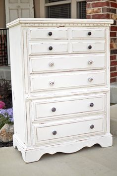 From Cleverly Crafty -see the updated knobs especially! From Cleverly Crafty -see the updated knobs especially! White Wood Bedroom Furniture, White Distressed Furniture, Shabby Chic Furniture, Industrial Furniture, Shabby Chic Bedrooms, Shabby Chic Homes, Shabby Chic Decor, White Chest Of Drawers, White Chests