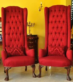 Comfy Bedroom Chair, Wingback Chair, Accent Chairs, Table, Furniture, Home Decor, Upholstered Chairs, Decoration Home, Room Decor