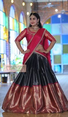 Wedding Saree Blouse Designs, Half Saree Designs, Pattu Saree Blouse Designs, Blouse Designs Silk, Lehenga Designs, Half Saree Lehenga, Lehnga Dress, Bridal Silk Saree, Designer Bridal Lehenga