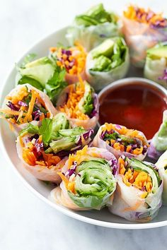These vegetable spring rolls are a colorful, crunchy, vegan friendly option that is wonderful for an appetizer, snack, lunch, dinner, or whenever!: