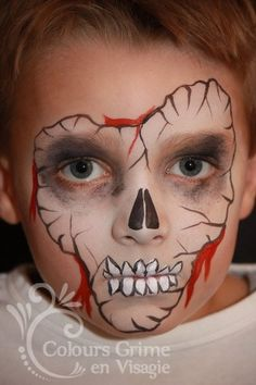 Cool idea for Halloween. Boy Halloween Costumes, Boy Costumes, Scary Halloween, Halloween Make Up, Halloween Face Makeup, Halloween 2018, Halloween Party, Face Painting For Boys, Face Painting Designs