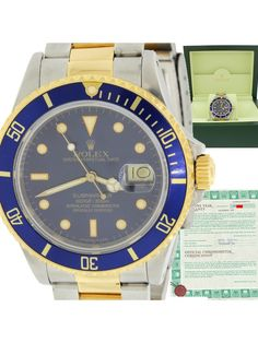 Rolex Submariner 18k Gold Steel TwoTone 16803 Blue Dial 40mm Dive Watch w/B&P