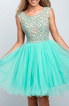 Terani Couture - Geometric Embellishment Tulle Prom Mini Dress in Mint
