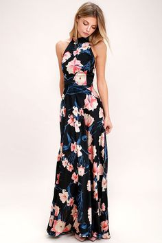 Just like a bouquet of roses, the Blooming Garden Black Floral Print Halter Maxi Dress will enamor everyone it encounters! Silky black woven fabric has a peach, pink, and blue floral print, tying halter neck, and open back with elastic for fit. Princess-seamed bodice flows to a fitted waist and maxi skirt. Hidden back zipper/clasp.