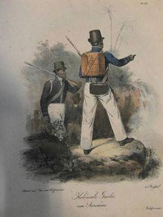 Het Korps Koloniale Guides staat ook bekend als de Zwarte Jagers. Een Korps samengesteld uit mannen gehaald van de Kust van Guinee en vrijgekochte slaafgemaakten. Het Korps assisteerde bij de jacht op weggelopen slaafgemaakten. klik voor meer info.