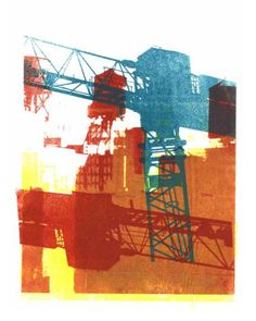 Green & Red building crane A digital art-print of two images. One from photos of building cranes and the other of water-towers om the roofs in Manhattan, N. - by Dutch artist Hilly van Eerten Building Art, Building Drawing, Advanced Higher Art, Lino Art, Textiles Sketchbook, Red Images, Architectural Prints, Graphic Design Pattern, Draw On Photos