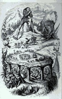 """Illustration from The Fairy Mythology by Thomas Keightley, 1892. From """"The Fairies' Passage: Journeys of the Fae"""" by Carolyn Emerick. www.CarolynEmerick.com"""