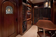 Custom Wine Cellar - Beautifully stained custom woodwork in wine cellar Linneman St. Glenview, Glenview Haus Photo Gallery, Chicago