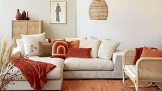 Terra-cotta, als accent kleur Eclectic Living Room, Living Room Sofa, Home Living Room, Home Room Design, Living Room Designs, Contemporary Home Decor, Living Room Inspiration, Long Beach, Making Ideas