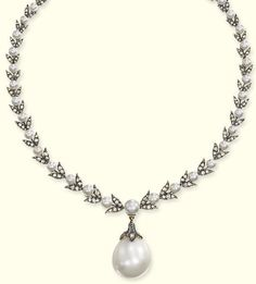 AN ANTIQUE NATURAL PEARL AND DIAMOND NECKLACE   The rose-cut diamond and pearl foliate necklace suspending a natural pearl drop weighing 33.40 carats (133.60 grains), mounted in gold and silver, adapted, pearls of the necklace untested, circa 1870, 36.0 cm long