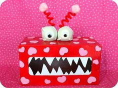 Valentine's Monster Boxes: What little kid wouldn't get a kick out of decorating one of these adorable monster boxes as a recepticle for all of that Feb. 14 classroom love?