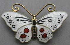 Opro Norway Norwegian Sterling Silver Enamel Butterfly Brooch Pin Scandinavian | eBay