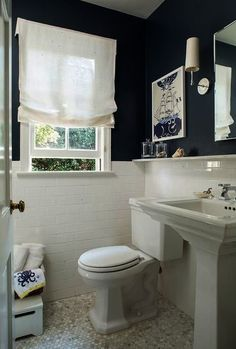 Navy Bathroom Decorating Ideas: White subway tile navy blue painted walls marble hex tile floor & pedestal sink