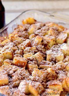 Super Delicious Overnight French Toast Bake recipe - so good! { lilluna.com } Yummy sourdough bread topped with brown sugar and cinnamon!