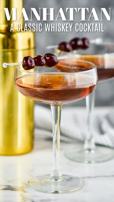 A Manhattan is a classic cocktail that every whiskey lover needs to know how to make. This Manhattan drink recipe is only three ingredients - perfect for the at home bar tender! Whiskey Cocktails, Classic Cocktails, Vodka Gimlet Recipe, Manhattan Drink, Manhattan Recipe, Hamburger Seasoning, Hamburger Casserole, Whisky, Creamy Shrimp Pasta