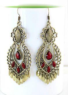 Red Gemstone Retro Gold Tassel Dangle Earrings US$5.18