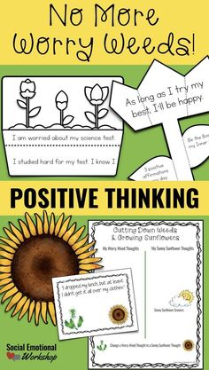 Positive thinking is a skill that students can learn to improve their resilience and persistence when faced with challenging tasks. Negative thinking is a common stumbling block for many students (and adults). Negative thoughts can affect how a student fe Counseling Activities, Group Counseling, Therapy Activities, School Counseling, Therapy Worksheets, Work Activities, Play Therapy, Speech Therapy, Negative Thinking