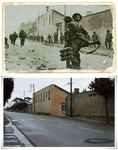 Commandos britannici avanzano rapidamente verso l'interno  lungo la Route de Lion, alla periferia di Ouistreham  contro una pesante resistenza tedesca. #NORMANDIA1944