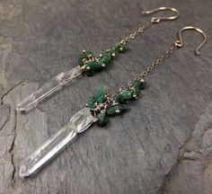 Emerald  Raw Quartz Crystal Point Dangle Earrings by byAngeline, $72.00