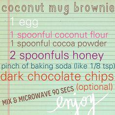 Grain free coconut flour mug brownie #low-carb #gluten-free #paleo