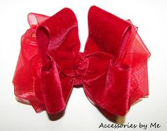Fancy Red Velvet Hair Bow Organza Girls Toddler by accessoriesbyme