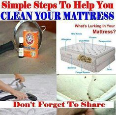 Cleaning mattresses CLEAN YOUR MATTRESS: Pour about 1 cup of baking soda into a Mason jar & drop in 4 drops of lavender essential oil. Put on lid & shake jar. Using a kitchen strainer, sprinkle the baking soda mixture all over the mattress & let it sit for an hour or more. Thoroughly vacuum the mattress. Bye, bye dust mites & other nasty things! The baking soda helps draw up any moisture & deep dirtiness. It deodorizes & leaves the mattress smelling fresh & clean!
