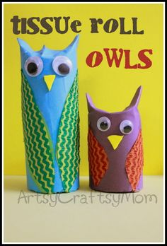 toilet tissue roll projects for kids | Toilet / Tissue roll owl craft | Recycled Crafts Paper Crafts Googly ...
