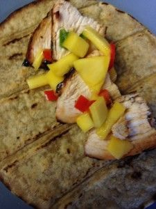 Chicken tacos with Tequila Mango Salsa!  We are starting this tuesday off with a bang as it is mango week! Nothings better then fresh mangos, spicy peppers, and juicy chicken on a corn tortilla. I recommend making the salsa ahead of time so you can spend your day lounging in the sun rather than working in the kitchen!