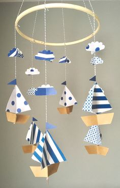 Nautical mobile, boat mobile, sailboat mobile, nursery decor, under the sea, baby boy nursery, cloud mobile, baby shower gift, blue white by UpUpandAwayDesignCo on Etsy https://www.etsy.com/listing/505481861/nautical-mobile-boat-mobile-sailboat