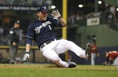 16/162 - Brewers 6, Houston 5 - Corey Hart slides into third base with a triple - (April 23)