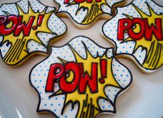 Tutorial: Cookie POW-ER! - make super hero comic book type cookies for a superhero party