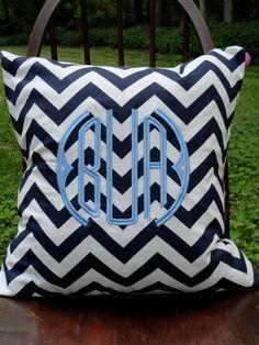 navy chevron. monogrammed pillow.