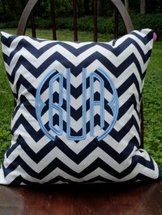 navy chevron. monogrammed pillow.