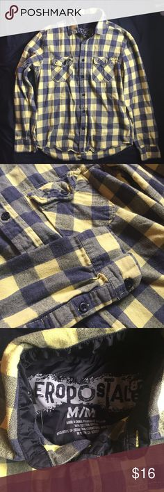 Men's Blue & Yellow Aero Flannel Great condition. Junior men's blue and yellow flannel from Aeropostale. Two front button pockets. 100% cotton. Aeropostale Shirts Casual Button Down Shirts