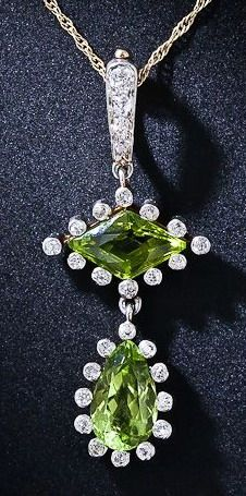 Antique Peridot Drop Necklace dating back to the turn-of-the-twentieth century Peridot Jewelry, Peridot Necklace, Love Necklace, Gems Jewelry, Drop Necklace, Birthstone Jewelry, Gemstone Jewelry, Jewelery, Fine Jewelry