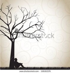 man sitting under a tree clip art - Google Search