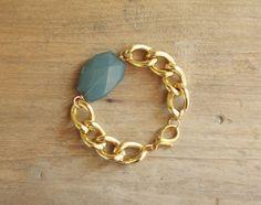 Gold Chain Bracelet with Teal Ocean Blue Charm - Lightweight Bracelet