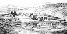 drawing of the ceremonial centre of Kajyub, part of the Quiche Maya kingdom in around 1500, drawing by Tatiana Proskouriakoff