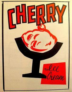 Vintage Illustration for Cherry Ice Cream